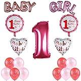Kesote 風船 誕生日 飾り付け 数字バルーン 1歳 お誕生日の飾りセット パーティーに装飾 女赤ん坊用 ピンク 23点セット