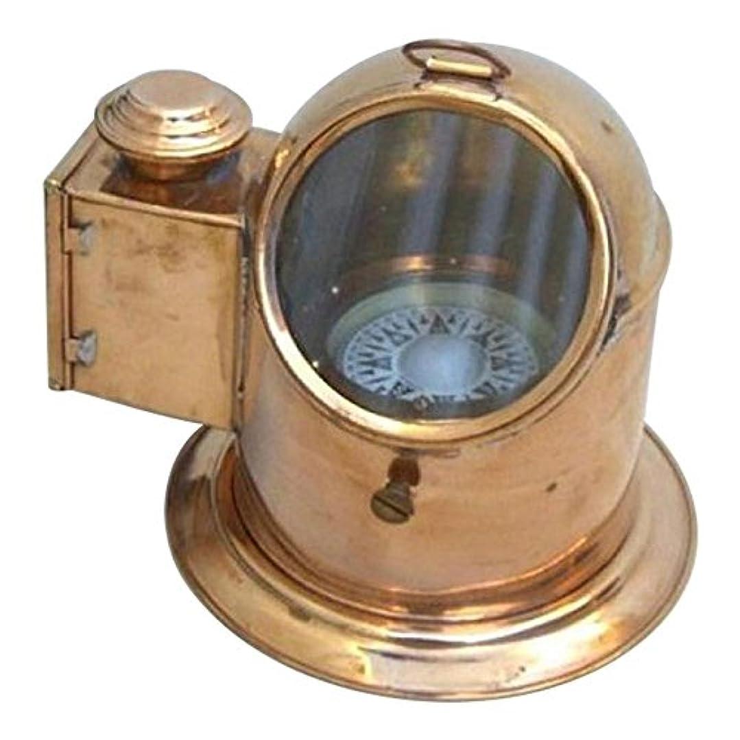 曲げる難破船特権NAUTICALMARTアンティーク真鍮BinnacleコンパスW/オイルランプ/Nautical Compass