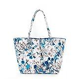 レディース 2wayバッグ トートバッグ 両面バッグ 色鮮やかな花柄プリント リバーシブル バッグインバッグ付き 大容量 【全6色】 (ブルー) [並行輸入品]