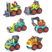 HOMOF 赤ちゃん用子供向けおもちゃ、早期教育用ポケット建設車両トラックおもちゃセット - ブルドーザー、セメントミキサー、ダンパー、フォークリフト、ショベルターロードローラー幼児 1、2、3歳から6P(ブルー)