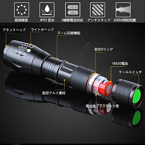 ビンウォー(BINWO) 300m先まで照射 超高輝度 防水防災 LED 懐中電灯 ズーム式5モード調光可能 (ブラック)