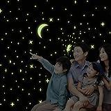 Fuloon 285個発光点 暗い所で光る お星さまや お月様の シール 蓄光ステッカー ウォールステッカー・壁紙シール・グラフィックスステッカー  壁、天井、家具、ヘッドボードなどに!