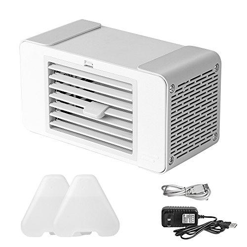 ポータブル冷風扇 卓上扇風機 水使用無し! 強風&角度調整可能 2Way式給電-USBケーブル&電源サプライ 小型コンパクト気化式冷風機 ミニエアコンファン 熱中症と暑さ対策 省エネクーラー 乳白&シルバー