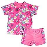 BAOHULU NEW 女の子 子供 可愛いピンク 花柄 日焼け止め 半袖 キュートセパレートスタイル水着 柔らかい 快適 スイミングウェア S200_116/122