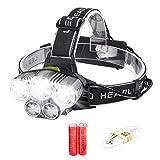 ヘッドライト EkikaTech LEDヘッドランプ アウトドアライト 6モード 防水 軽量 高輝度 角度調節可能 ハイキング/夜釣り/作業/自転車/キャンプに最適