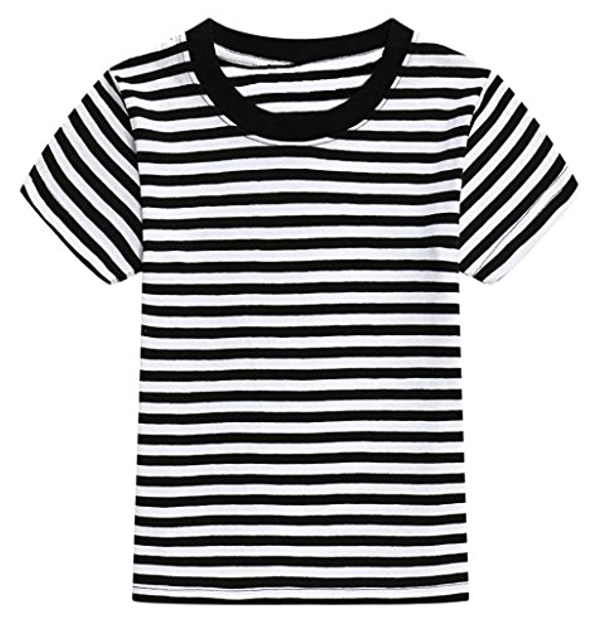 電卓ご近所滑り台Plus Nao(プラスナオ) Tシャツ 半袖 ラウンドネック ボーダー柄 子供用 トップス カットソー カジュアル 吸湿性 吸汗性 おしゃれ 男の子 女