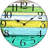 """Coindivi 14"""" Silent Non Ticking Wall Clock, Wooden Decorative Round Wall Clock Battery Operated - Vintage Rustic Country Tuscan Style"""