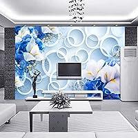 LJJLM カスタム写真壁紙現代ファッション3Dサークル青い花テレビの背景壁画生地壁紙寝室の壁-160X120CM