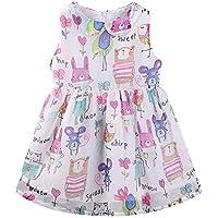 LittleSpring Girls Sleeveless Vintage Dress Chiffon Cartoon Party Dress