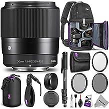 Sigma 30mm F1.4 Contemporary DC DN Lens Sony E Mount Cameras w/Advanced Photo Travel Bundle