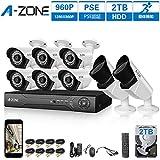 A-ZONE 130万画素タイプ 防犯カメラキット 8CHレコーダー(2000GB内蔵)&(2台フォーカスカメラ+6台カメラ) フルハイビジョン 防水IP67 ナイトビジョン屋内/屋外CCTV防犯、監視カメラ、iPhone Android スマホ PC 遠隔監視 対応(2TB HDD付き)