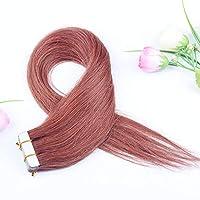 FidgetGear Remyの人間の毛髪延長7A 40cmの継ぎ目が無いPUの皮のよこ糸の方法16インチテープ #33ダークオーバーン