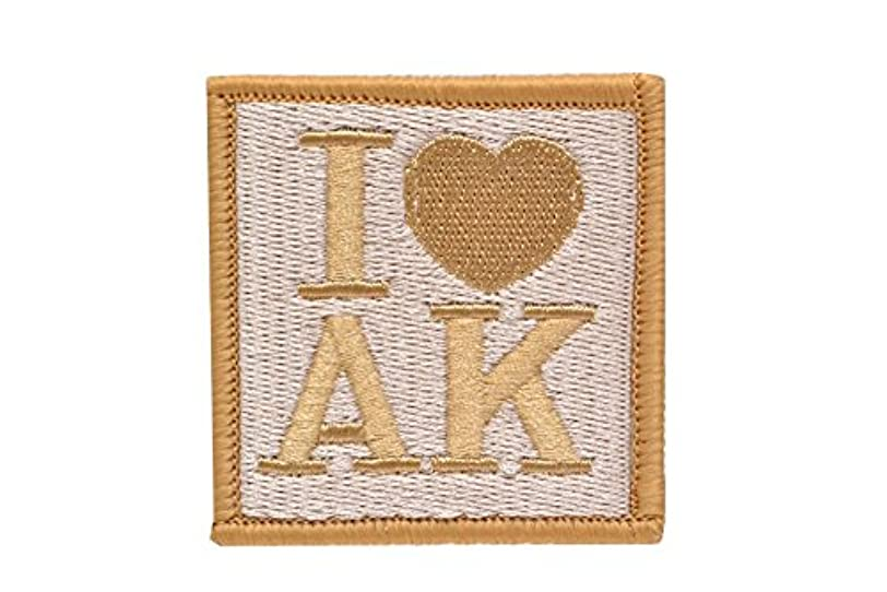 シティ縁石摂動I LOVE AK AK47 AK74u パッチ ワッペン ベルクロ付き 面ファスナー付き ゴールド 金色