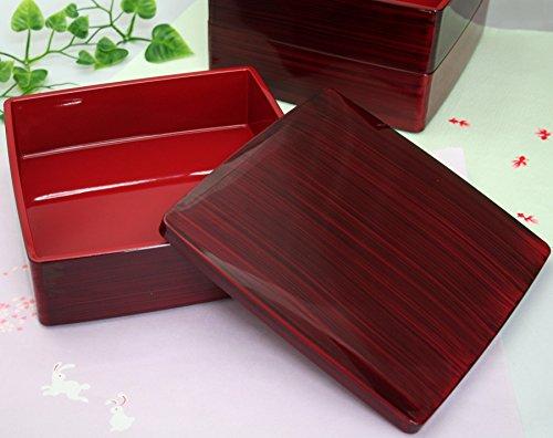尾崎商店 重箱 三段重 胴張 赤杢目 19.5×19.5×17.5cm