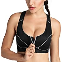 SYROKAN Women's High Impact Front Closure Racerback Full Support Sports Bra