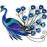 LIFFY Metal Peacock Wall Art Hanging Glass Decoration for Home, Garden or Front,23.23 x 20.87 x 2.36 inches,1.3 Pounds