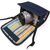 カメラケース ミラーレス キヤノンEOS M100 /EOS M10ケース(ネイビー・オアシス)-カラビナ付 -suono(スオーノ)ハンドメイド