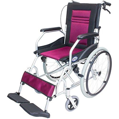 ケアテックジャパン 軽量 自走式アルミ製車椅子 CA-12SU ハピネスライト (ワインレッド)...