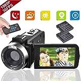 ビデオカメラ 3インチIPSパネル 128GBカード対応 1080P 30FPS 24MP バッテリー*2 18倍デジタルズーム デジタルビデオカメラ カムコーダー ブログカメラ