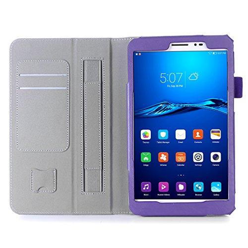 ISIN Huawei MediaPad T2 8.0 Pro / Honor Pad 2 8.0 保護ケース 超薄型 用スマートケース マグネット開閉式 スタンド機能付き 高級PU レザーケース カードスロット付き ・ リストバンド付(パープル)