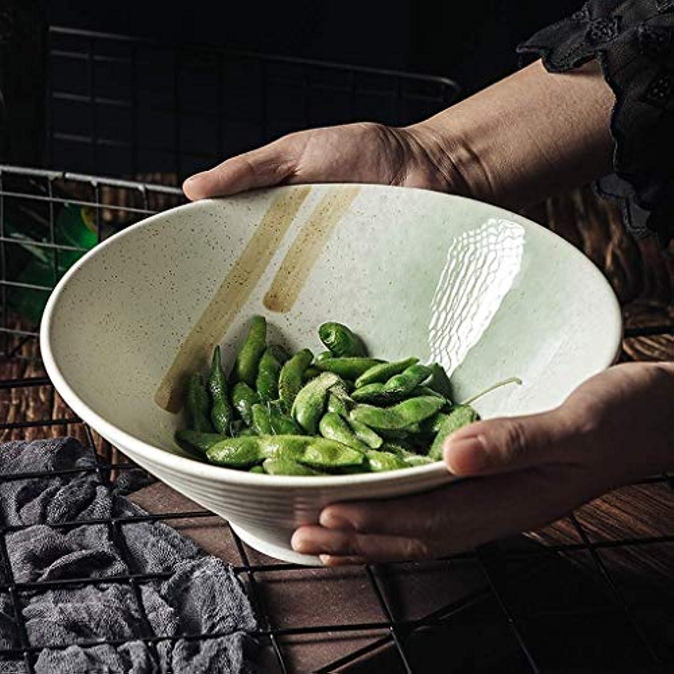 サンダーカフェテリア冷笑するL.TSAセラミックボウル和風アンティークセラミック食器9インチラーメンボウルホーム創造的な大きなスープボウルフルーツボウル手描きミキシングボウル