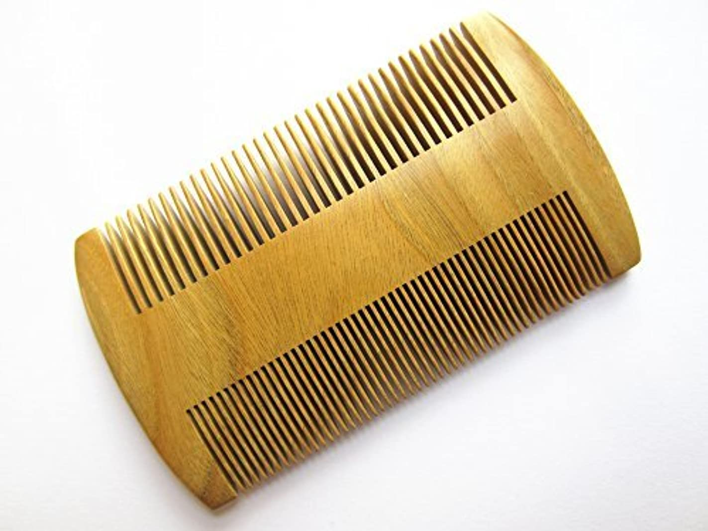 海説明的メッシュMyhsmooth GS-S2M-N2F Handmade Natural Green Sandalwood No Static Pocket Comb Perfect Beard Comb with Aromatic...