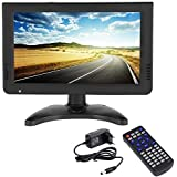 10 Inch HD Portable TV Digital and Analog LED TV Multimedia Player Support TF Card/USB/Audio Car TV DVB-T DVB-T2 for Car, Outdoor or Home,Black,European Plug