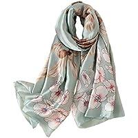 GERINLY Silk Scarf, Large Satin Headscarf, Graceful Flowers Wrap Shawl for Women