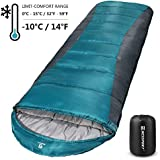Bessport Sleeping Bag Winter | 14℉/-10℃ Extreme 3-4 Season Warm & Cool Weather Adult Sleeping Bags Large | Lightweight, Waterproof for Camping, Backpacking, Hiking (Blue&Grey)