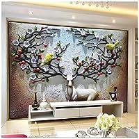 Mingld 3Dエルクエンボス背景壁レリーフ装飾画壁画カスタムグリーン壁紙-400X280Cm
