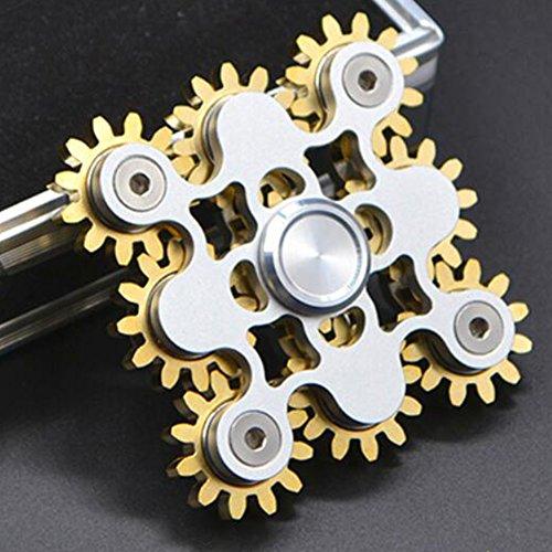 JP-KIBOU 指スピナー おもちゃ ハンドスピナー 強く回転 セラミックのボールベアリング 指先2-5分高速スピン 純銅+ステンレス (ゴールド)