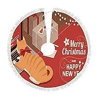 Zhigua クリスマスツリースカート クリスマス飾り カーペット 下敷物 円型 直径 76cm 91cm 122cmクリスマス盛り上げ オーナメント インタリア 足元布 ベースカバー サンタクロース 取り付け簡単 メリークリスマス 可愛い 猫柄