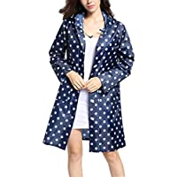 zhxinashu Women's Raincoat Wave Dot Waterproof Rainwear Hooded Poncho