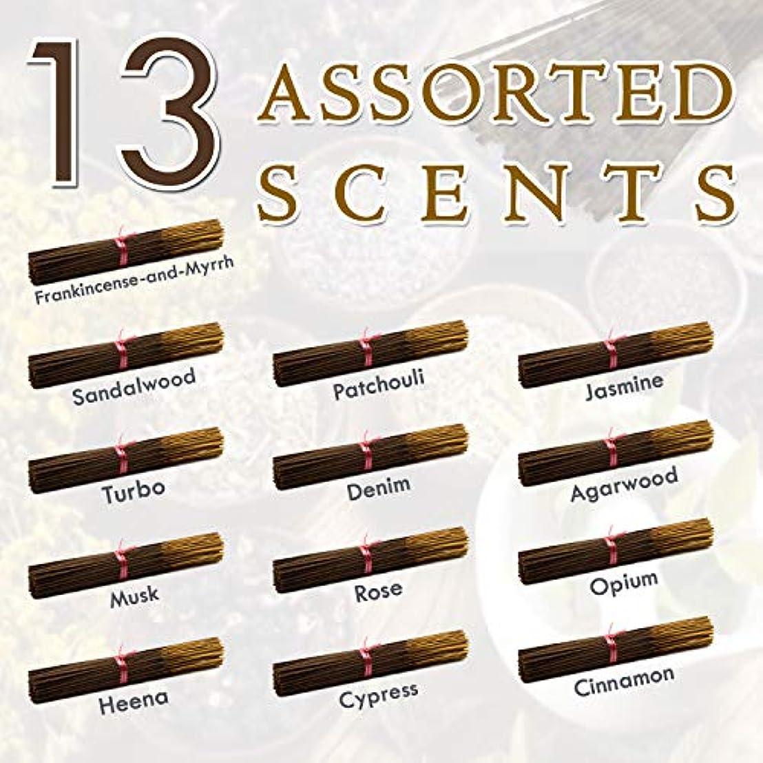 稼ぐ同等の敵独占的な12種類の香り-乳香-ミルラ-サンダルウッド-パチョリ-ジャスミン-トゥルボ-デニム-ガーウッド-ム-ム-オピウム-ヘナ-サイプレス- 100%-天然インセンス-スティックハンドメイド - 手作り - 240-パック -