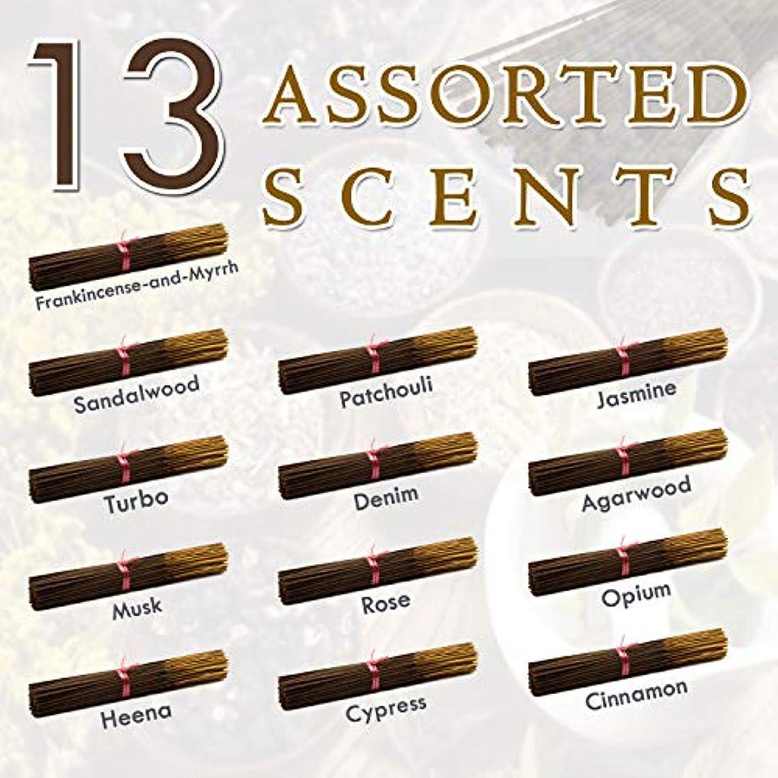 放棄ためらう守る独占的な12種類の香り-乳香-ミルラ-サンダルウッド-パチョリ-ジャスミン-トゥルボ-デニム-ガーウッド-ム-ム-オピウム-ヘナ-サイプレス- 100%-天然インセンス-スティックハンドメイド - 手作り - 240-パック -