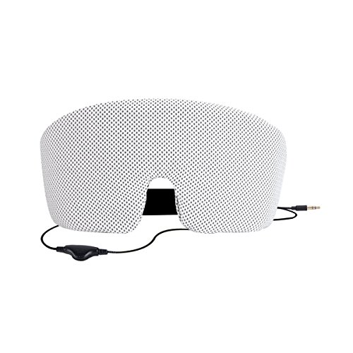 AGPtek アイマスク ヘッドフォン 睡眠マスク 内蔵スピーカー 3.5mmプラグオーディオ機器に対応 安眠 快眠 柔らか肌触り 遮光 軽量 不眠症の解消、旅行、瞑想、昼寝 グレー