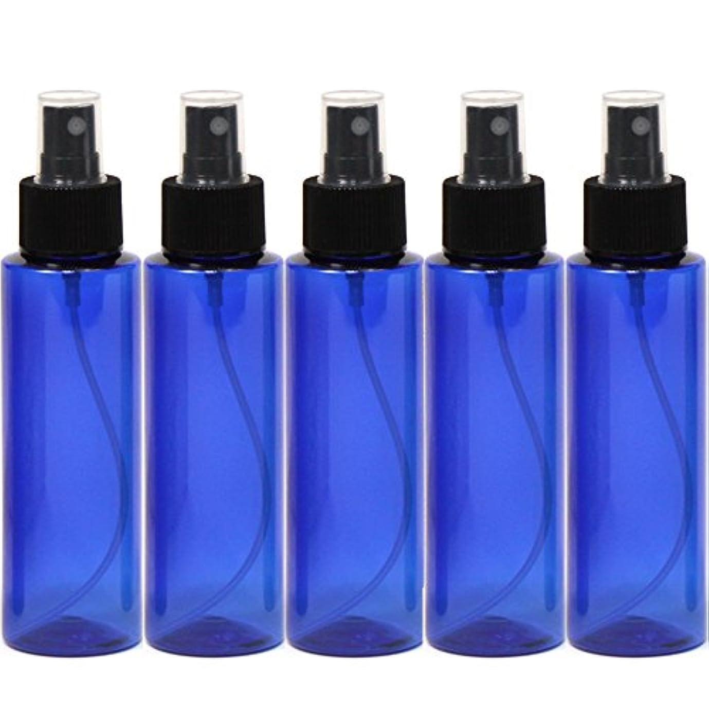 ビリープロトタイプ師匠スプレーボトル100mLブルー黒ヘッド5本ストレートペットボトル遮光性青色おしゃれ容器bu100sbk5