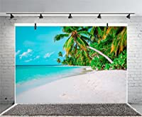 leyiyi 7x 5ft Photography Backgroud Seaside BackdropウェディングパーティーOcean Waves Sand Beach Palm Trees Tropical Islandハワイアンルアウ誕生日新婚旅行フォトPortraitビニールStudioビデオProp