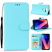 LoveBee LG V30 Wallet Multi Card Holder バックシェル アクセサリー Folio PU Leather Cover With アクセサリー Case For LG V30 - Sky Blue
