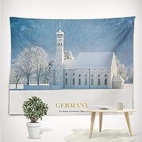 モダンな装飾白い雪の城のスタイルの壁は、ホームリビングルームのソファの背景のための家具をぶら下げポリエステルファブリックの壁の装飾ビーチタオルヨガショールとして,001,M