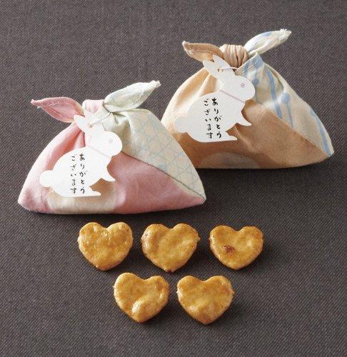 小粋なあずま袋入り はんなりうさぎのハートせんべい(プチ煎餅5枚入り)1個【結婚式 プチギフト】