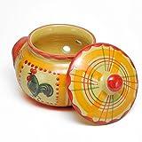 ポルトガル製 陶器 ガーリックポット ルースター柄 手描き にわとり ニンニク 保存 黄色 pfa-43a-rs