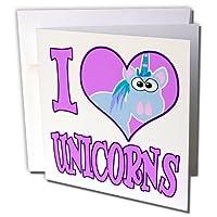 Dooni Designs Goofkins文字–I Heart Love Unicorns Cartoon–グリーティングカード Set of 6 Greeting Cards