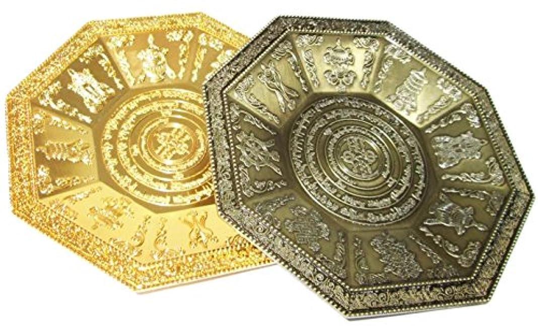 柔和中間機構【REG-INTE7】風水 香皿 香炉 香器 八角形皿 天然さざれ石 付き (青銅色)
