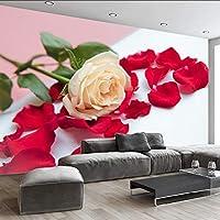 Lixiaoer カスタム写真壁壁画3D現代黄色いバラの花びらリビングルームテレビの背景3Dルームの壁絵画壁紙家の装飾-350X250Cm