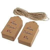 Prettyia 紙製 バレンタインデー パーティー ロマンチックな 贈り物ラベル ぶら下げタグ 約100枚入り 全3スタイル2色 - ブラウン, #3