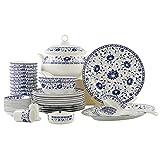 青と白の磁器60個セット食器/陶器/ボーンチャイナ、ボール/スプーン/皿、中華手作り/景徳鎮、ギフト/コレクション