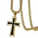 cupimatchステンレススチール十字架クロスペンダントネックレス,ブラックシルバーPrayerクロスネックレスチェーンメンズレディース、22インチ ゴールド