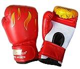 yemsy style ボクシング グローブ 練習 用 キッズ 子供 大人 選べる カラー 収納袋 付き (02: 子ども用 赤)