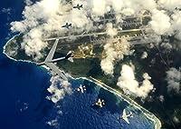 絵画風 壁紙ポスター (はがせるシール式) 航空自衛隊 日米編隊飛行 F-2A B-52H F-16C EA-6 コープノース・グアム2009 JASDF ミリタリー キャラクロ JASD-020A2 (A2版 594mm×420mm) 建築用壁紙+耐候性塗料